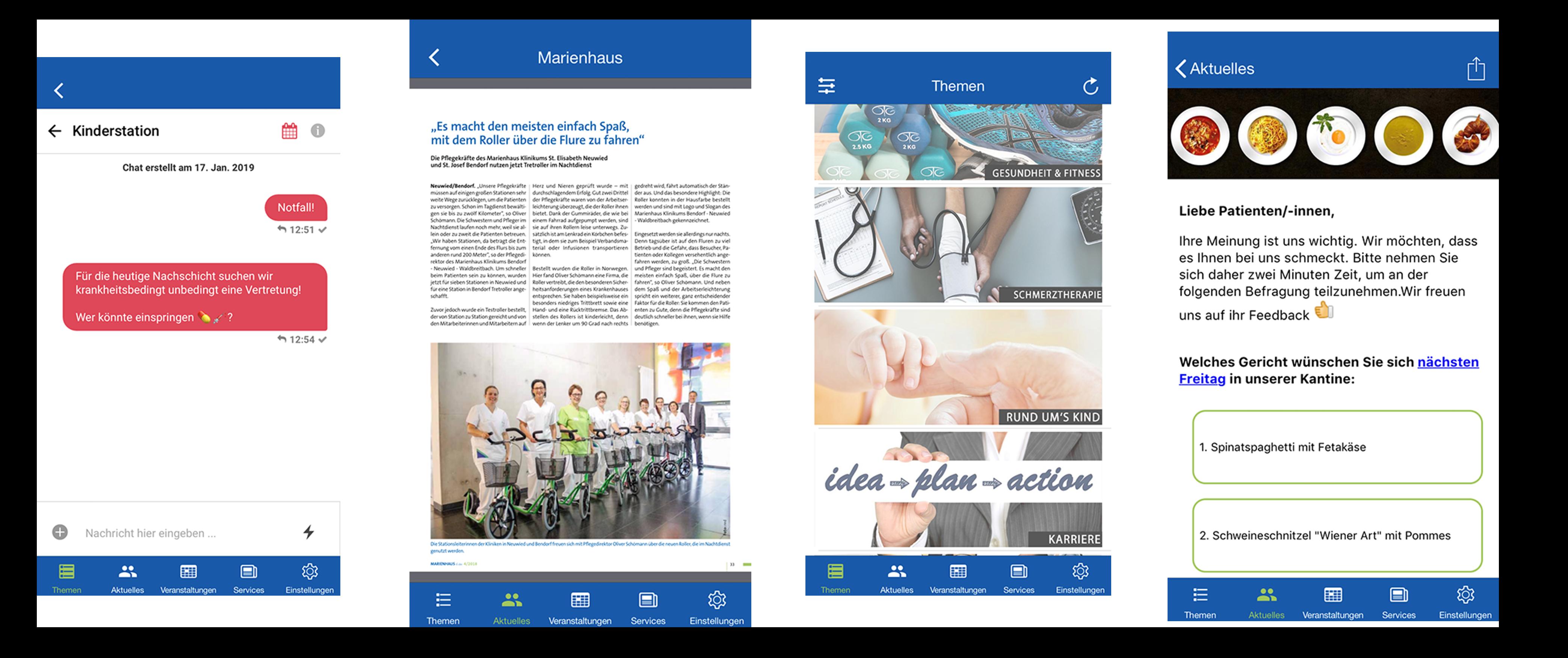 Screenshots der media Patienten-App bzw. Mitarbeiter-App