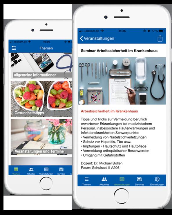 Darstellung der Mitarbeiter-App bzw. Patienten-App