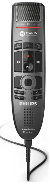 Diktiergerät Speechmike von Philips gelabelt mit MARIS Logo