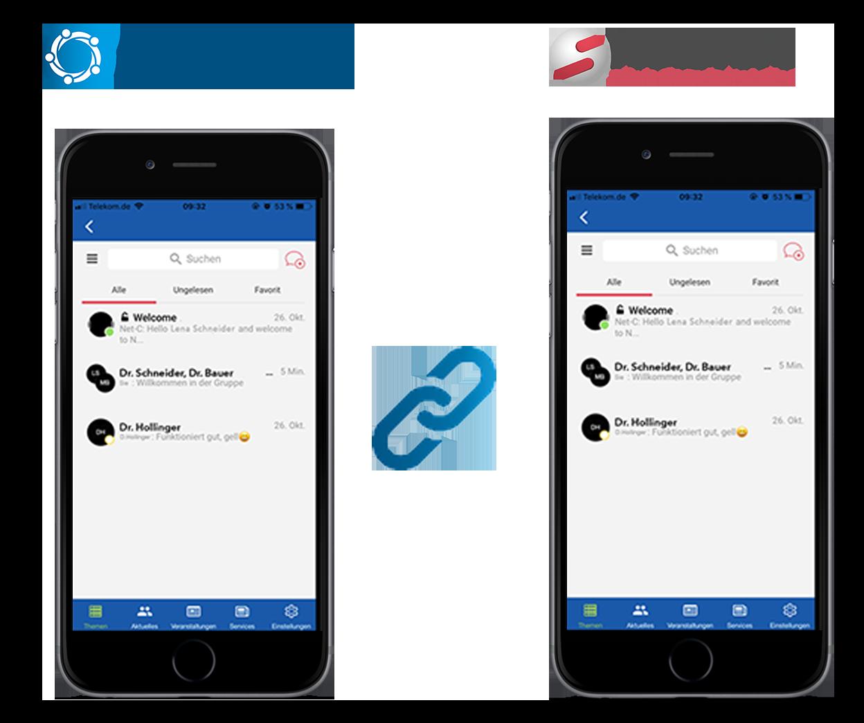 Kombination der Mitarbeiter-App und der DSGVO-konformen Chatfunktion MARIS Messenger