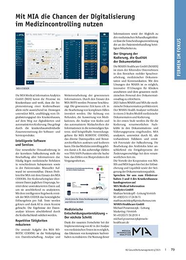 Presseartikel MIA und MARIS zum Health Analyzer