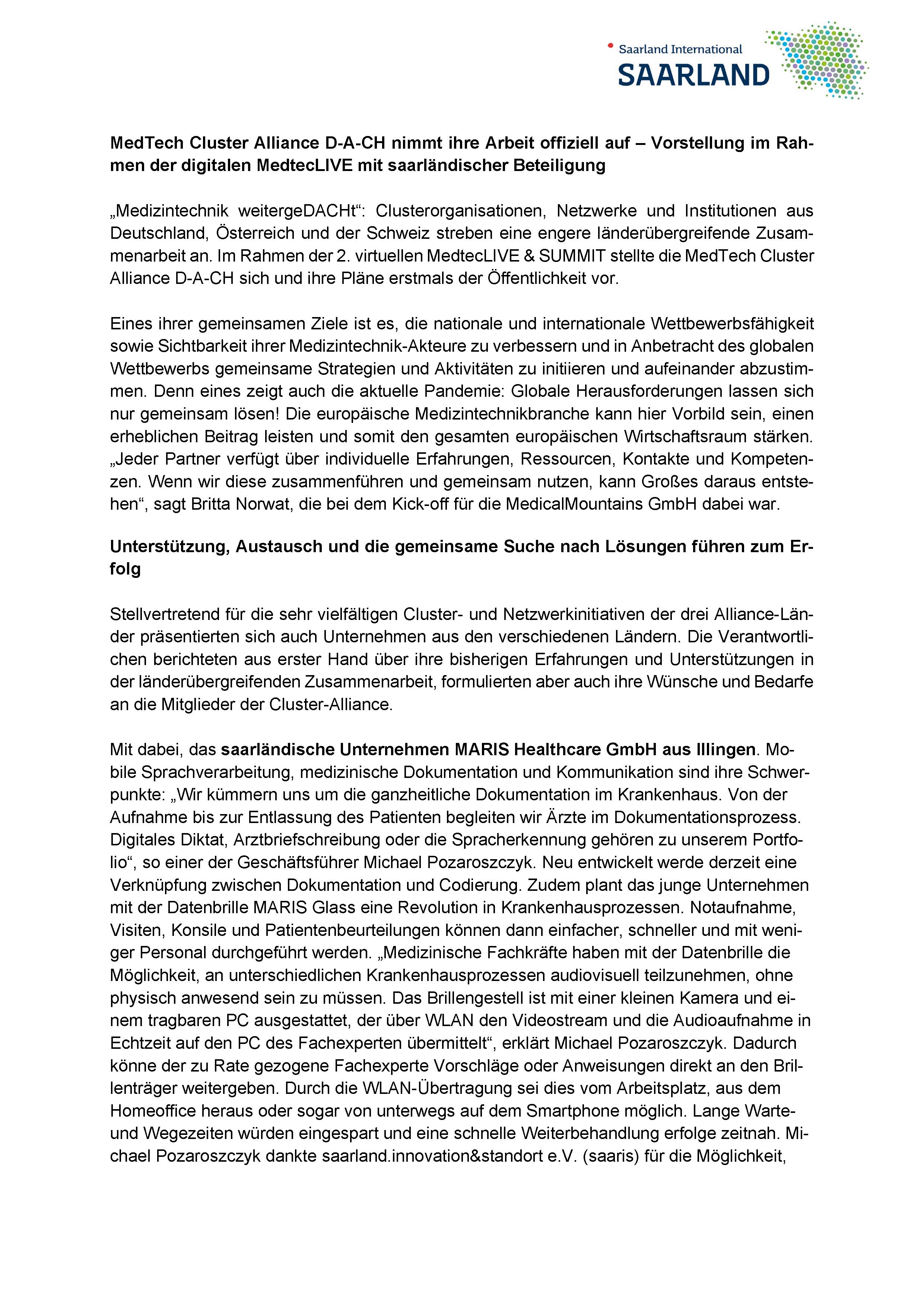 Presseartikel MedTech und MARIS